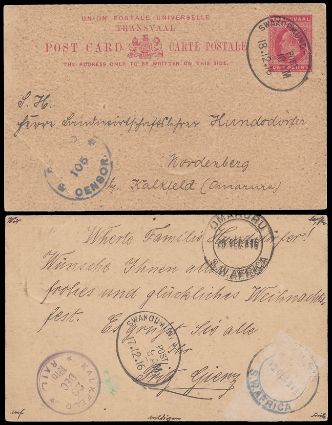 South West Africa 1916 Transvaal KEVII 1d Card Used Swakopmund