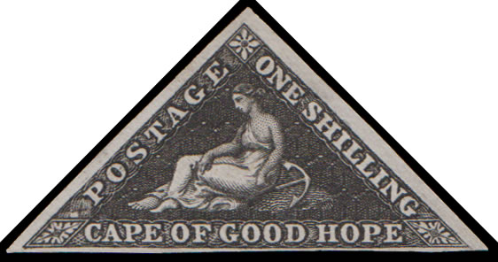 CAPE OF GOOD HOPE 1853 RARE 1/- PLATE PROOF WITH CERT