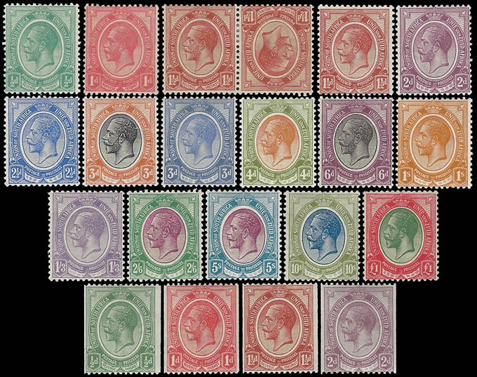 South Africa 1913 KGV ½d - £1 Mint Set with Coils