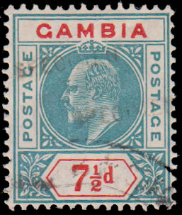 GAMBIA 1905 GABON RECEIVING AUTHORITY SPECIMEN, DOUBLE STAMP