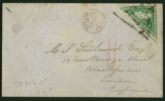 CAPE OF GOOD HOPE 1863 RARE DE LA RUE 1/- TRIANGLE FRANKING