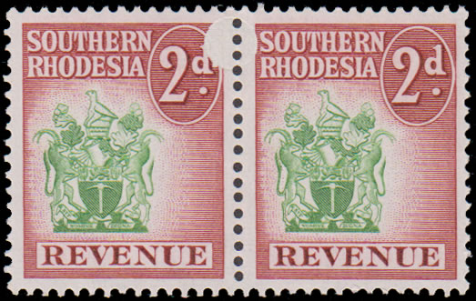 Southern Rhodesia Revenues 1952 2d Arms Confetti Flaw