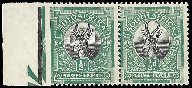 SOUTH AFRICA 1927 ½D IMPERF BETWEEN STAMP & MARGIN