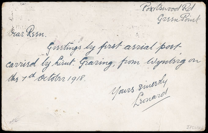 SOUTH AFRICA 1918 CAPE TOWN FLIGHT, PILOT SIGNED, CANCEL VARIETY