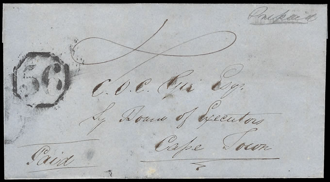 CAPE OF GOOD HOPE 1852 RARE OCTAGONAL 56 LETTER