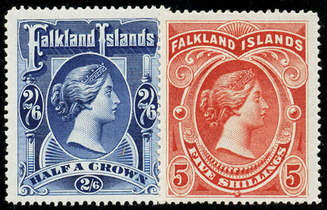 FALKLAND ISLANDS 1898 QV HIGH VALUES