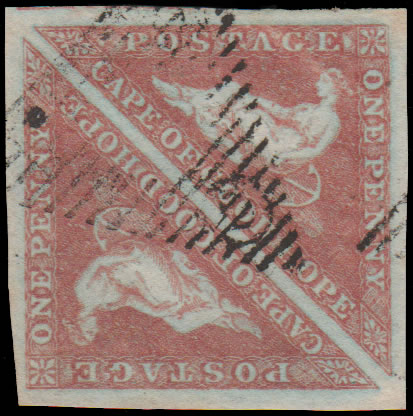 CAPE OF GOOD HOPE 1853 1D BRICK RED F/U PAIR