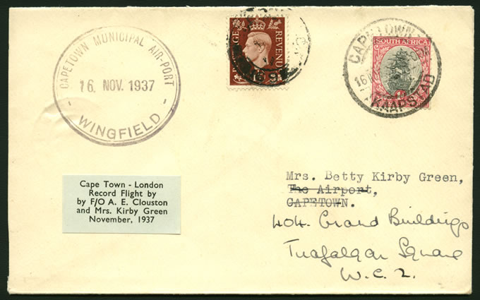 SOUTH AFRICA 1937 CLOUSTON & KIRBY GREEN FLIGHT COVER