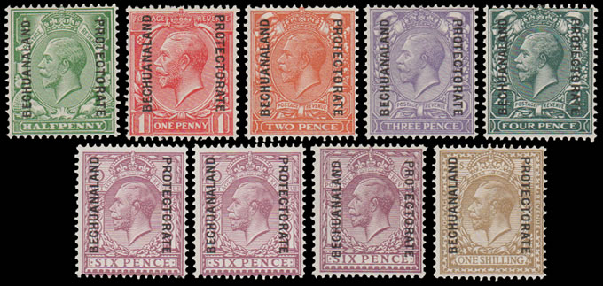 BECHUANALAND 1925 GB OVPTS ½D - 1/- SET VF/M