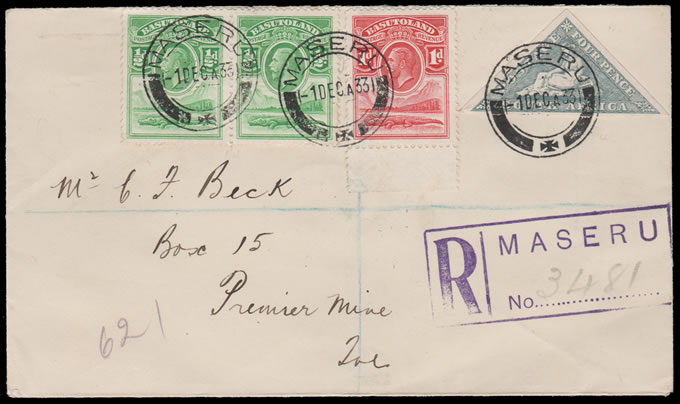 BASUTOLAND 1933 KGV FDC, COLONIAL LAST DAY LETTER