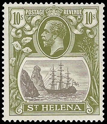 SAINT HELENA 1922 BADGE ISSUE 10/- TORN FLAG VF/M WITH CERT RARE