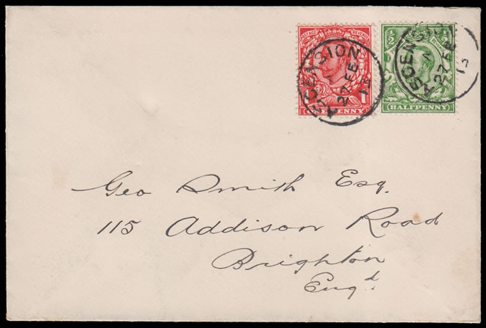 ASCENSION 1913 GB USED IN: KGV ½D & 1D LETTER TO UK