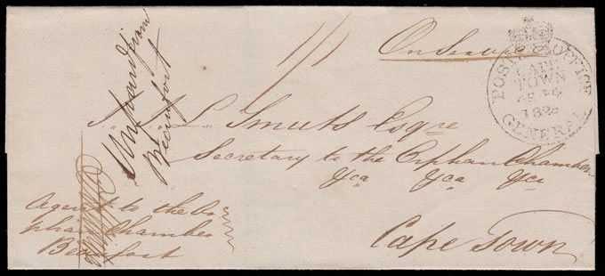 CAPE OF GOOD HOPE 1826 FREE POSTAGE DENIED LETTER FROM BEAUFORT