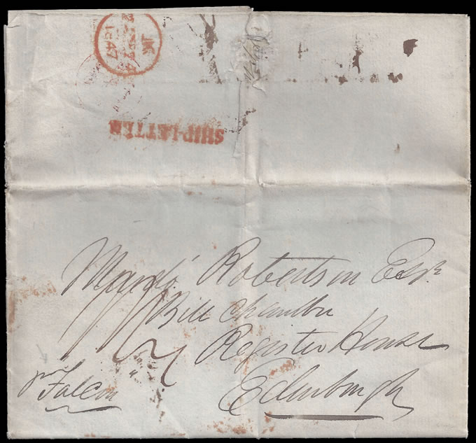 "CAPE OF GOOD HOPE 1847 SHIP LETTER ""PER FALCON"" TO EDINBURGH"