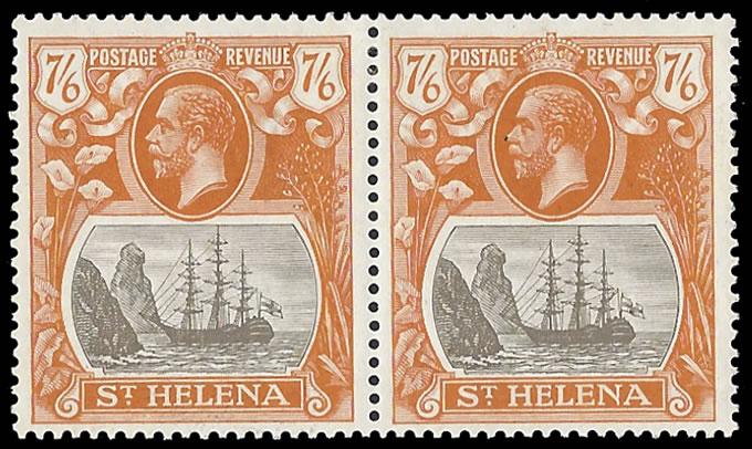 SAINT HELENA 1922 BADGE ISSUE 7/6 TORN FLAG VF/M IN PAIR
