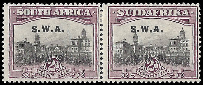 SOUTH WEST AFRICA 1927 2D OVERPRINT DOUBLE, ONE INVERTED VF/M