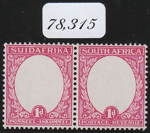 SOUTH AFRICA 1930 1D TYPE II, CENTRE OMITTED, WITH CERT, RARE