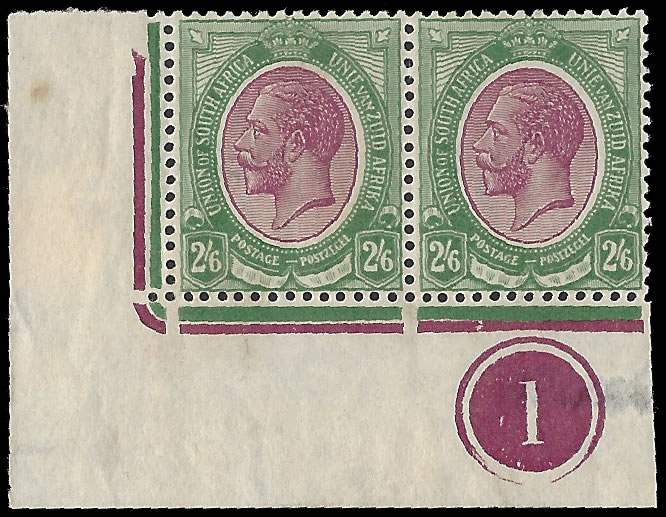 SOUTH AFRICA 1913 KGV 2/6 PLATE NO1 CONTROL PAIR BROKEN JUBILEE