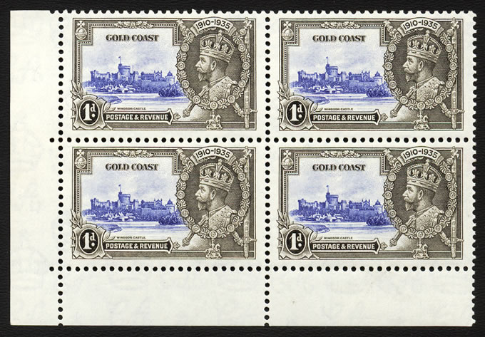 GOLD COAST 1935 SILVER JUBILEE 1D EXTRA FLAGSTAFF VF/M IN BLOCK