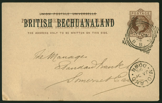 BECHUANALAND 1895 POSTCARD VRYBURG TO SOMERSET EAST