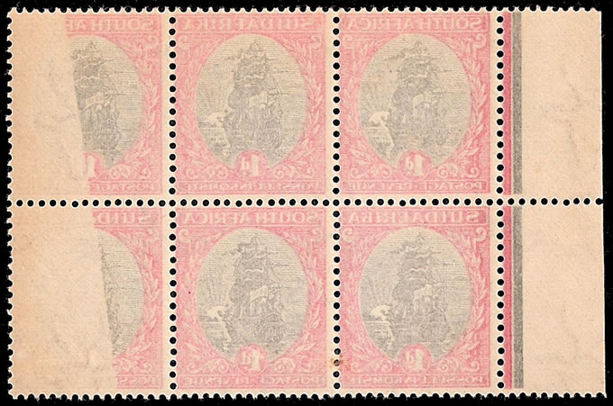 South Africa 1926 1d Ship Block, Complete Offsets