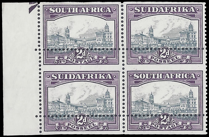 SOUTH AFRICA 1930 2D SPECTACULAR MISPERFORATED BLOCK