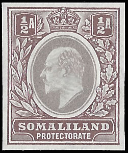 SOMALILAND 1903 KEVII ½a COLOUR TRIAL