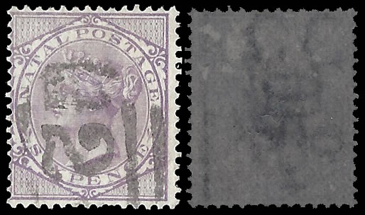 NATAL 1874 QV 6D VARIETY INVERTED WATERMARK