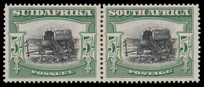 SOUTH AFRICA 1927 LONDON 5/- PERF UP PAIR VF/M GROUP III, SCARCE