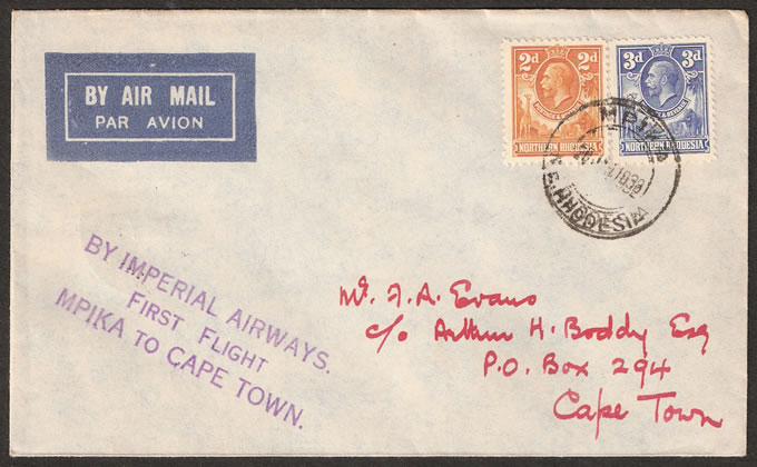 NORTHERN RHODESIA 1932 FIRST FLIGHT MPIKA TO CAPE TOWN