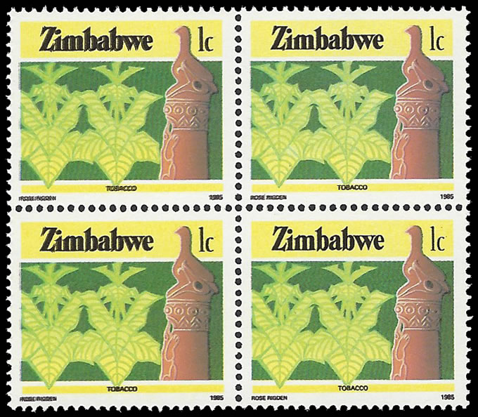 ZIMBABWE 1985 1C TOBACCO BLACK PRINTING DOUBLED BLOCK