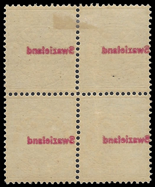 SWAZILAND 1892 ½D BLOCK WITH OFFSETS ON REVERSE