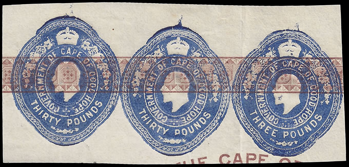 CAPE OF GOOD HOPE 1903 KEVII EMBOSSED LICENCE STAMPS