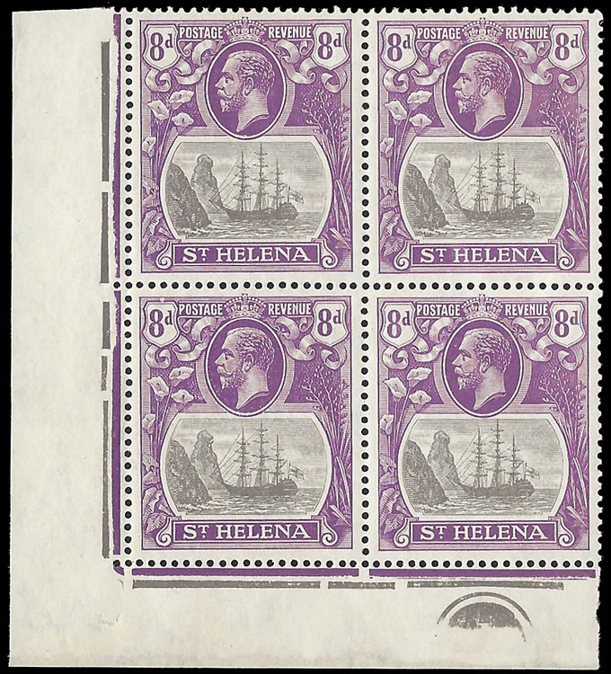 Saint Helena 1923 Badge Issue 8d Cleft Rock in Plate No Block