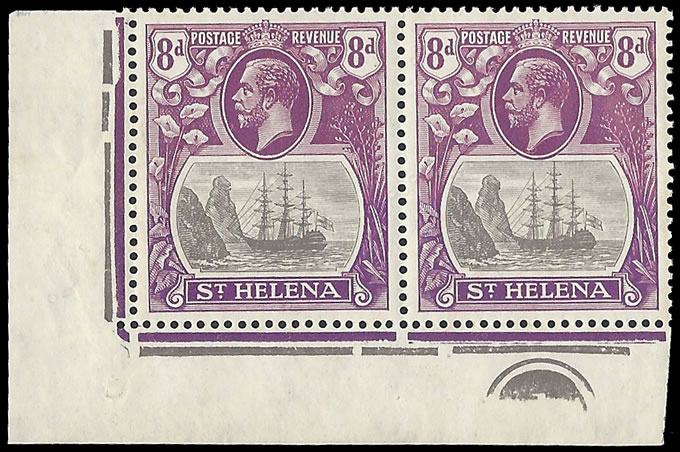 Saint Helena 1923 Badge Issue 8d Cleft Rock in Plate No Pair