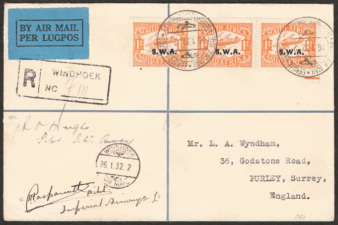SOUTH WEST AFRICA 1932 MULTIPLE PILOT SIGNED COVER
