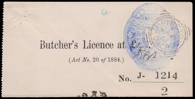 CAPE OF GOOD HOPE 1902 QV FIVE POUND, BUTCHER'S LICENCE