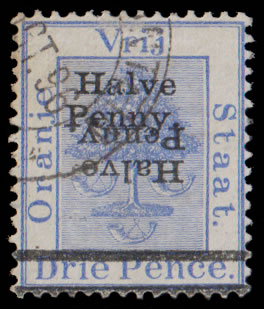 ORANGE FREE STATE 1896 HALVE PENNY ON 3D DOUBLE, ONE INVERTED