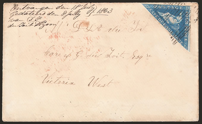 CAPE OF GOOD HOPE 1863 4D TRIANGLE ON ENVELOPE