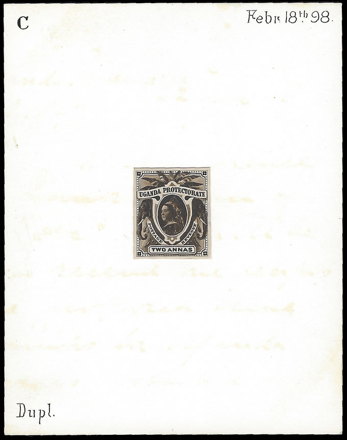 UGANDA 1898 QV DE LA RUE DESIGN PROPOSAL C FOR SMALL FORMAT