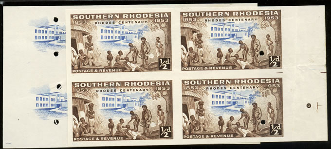 Southern Rhodesia 1953 Rhodes Centenary ½d Imperf Proof