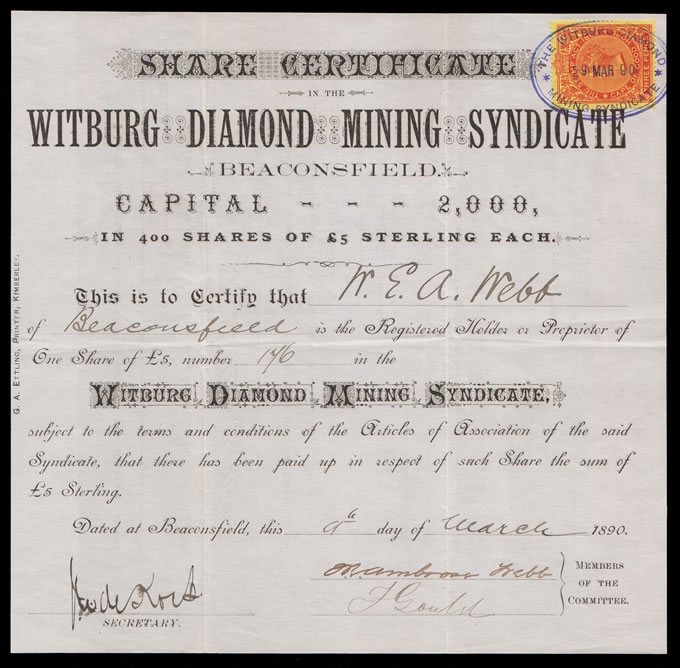 Griqualand West 1890 Witburg Diamond Mining Share Certificate