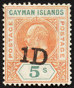 CAYMAN ISLANDS 1907 1D ON 5/- PROVISIONAL