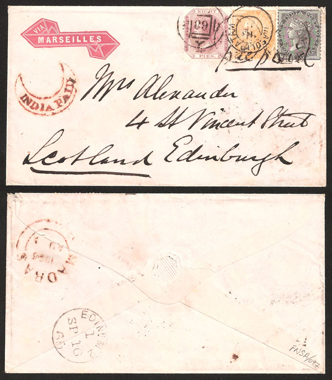 India 1865 Lovely 3-Colour Franking
