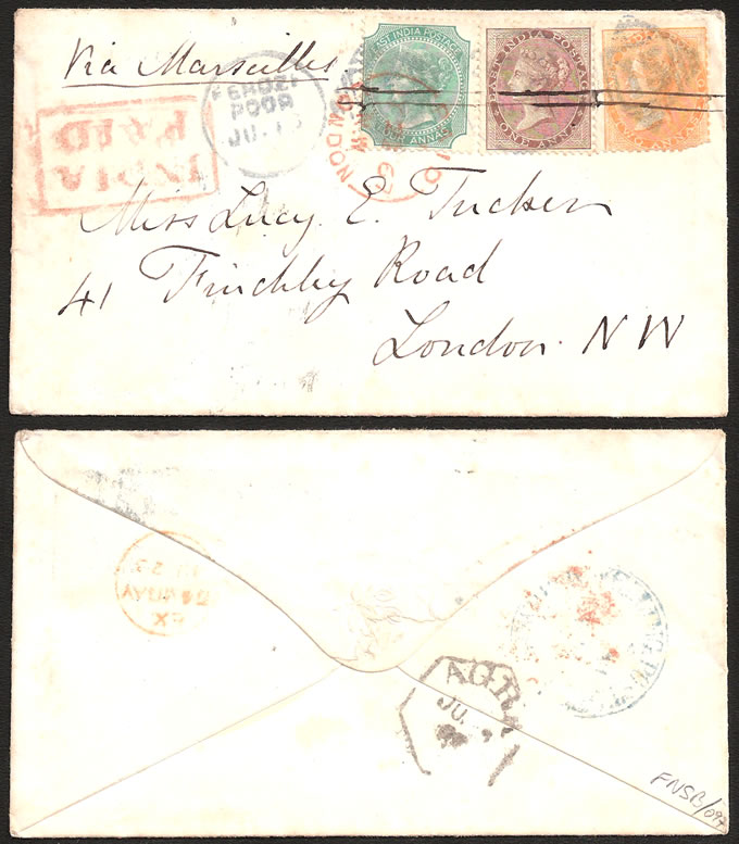 INDIA 1867 LOVELY 3-COLOUR FRANKING