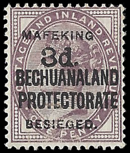 MAFEKING SIEGE 1900 SG12 3D ON 1D LILAC F/M, RARE
