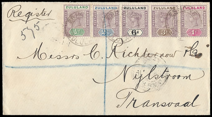 Zululand 1897 Registered Letter with QV Franking to 6d