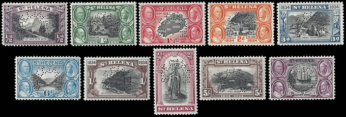 SAINT HELENA 1934 CENTENARY SET PERF SPECIMEN SUPERB M