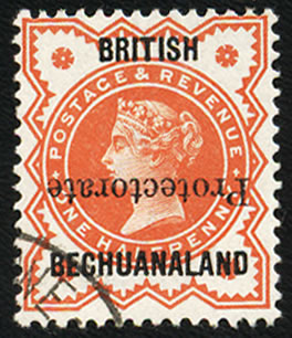 BECHUANALAND 1890 ½D OVERPRINT INVERTED VF/U