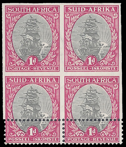 SOUTH AFRICA 1933 1D IMPERF BLOCK, SHIFTED PERFS, SPECTACULAR